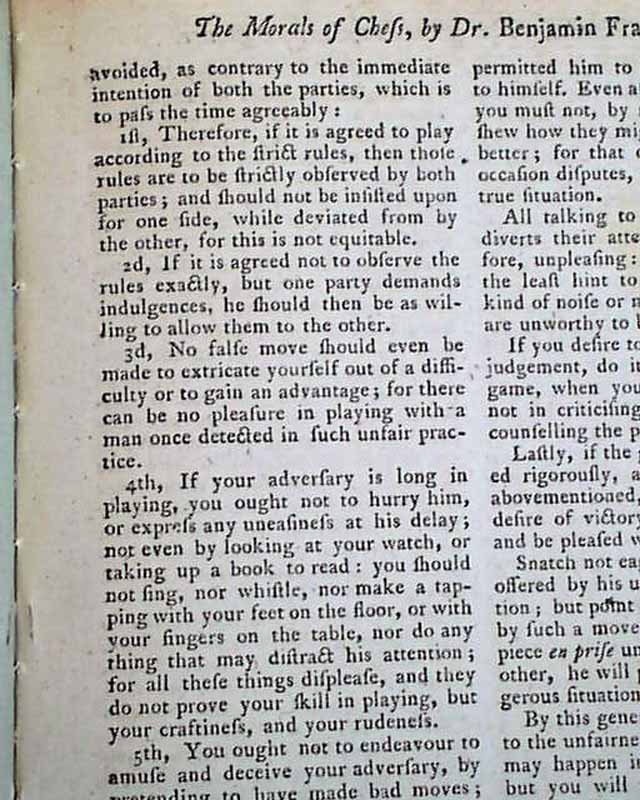 ben franklin essay on chess The morals of chess, a essay by benjamin franklin  the morals of chess was  first published in the columbian magazine in december 1786.