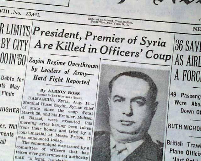 coup d'etat in syrie-1949 ile ilgili görsel sonucu