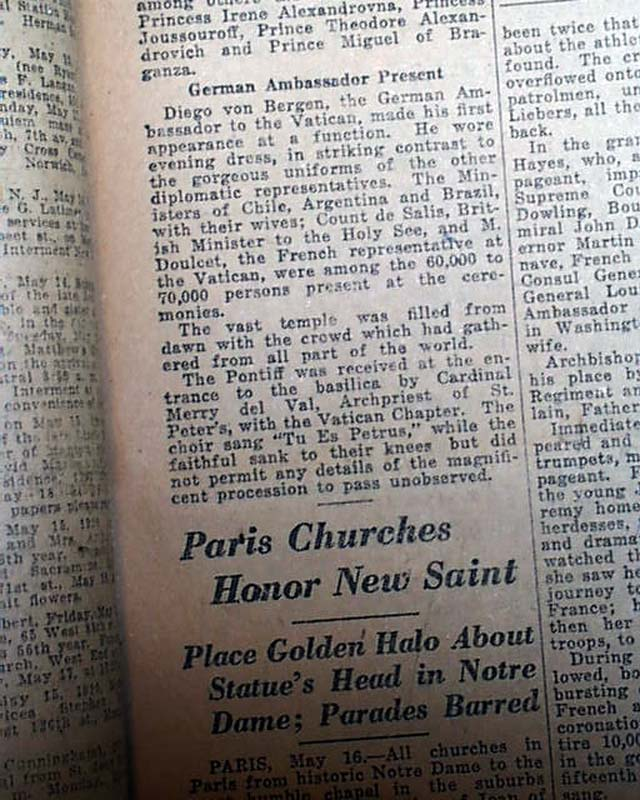 Saint Joan of Arc Pope Benedict XV Catholic Church Canonization 1920