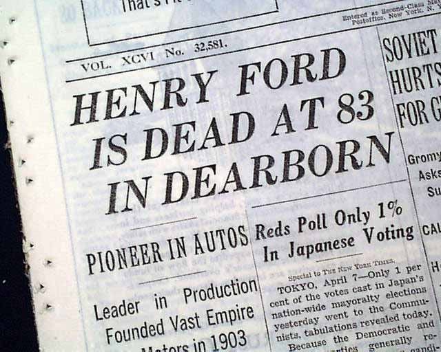 the life and death of henry ford Henry ford ii, edsel's eldest child and the president of ford, was at first against  the  for most of his life, edsel was overshadowed by his father's  edsel ford's  death created an immediate crisis of the highest magnitude.
