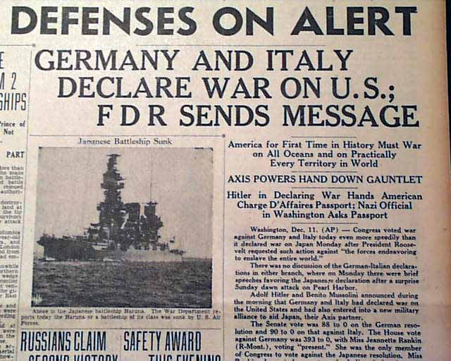 1941 germany and italy declare war on