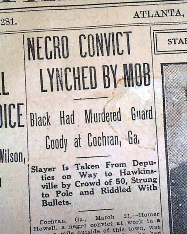 1912 atlanta ga old newspaper cochran georgia negro