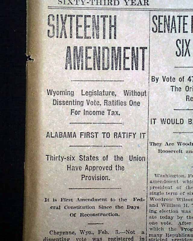 16th Amendment Pictures The 16th amendment... rare