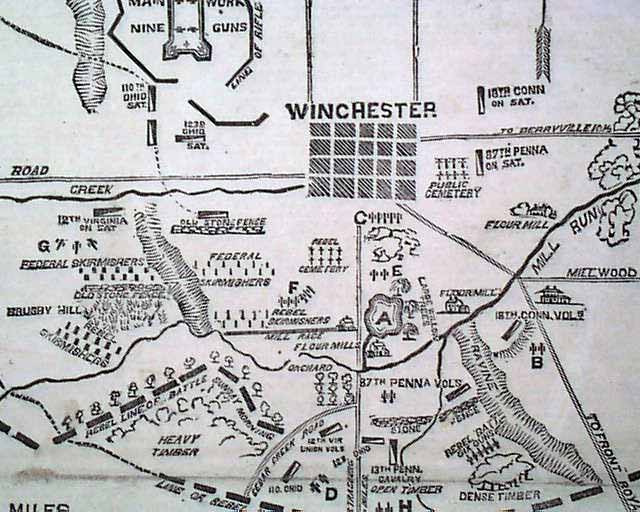 1863 civil war map winchester va rarenewspapers