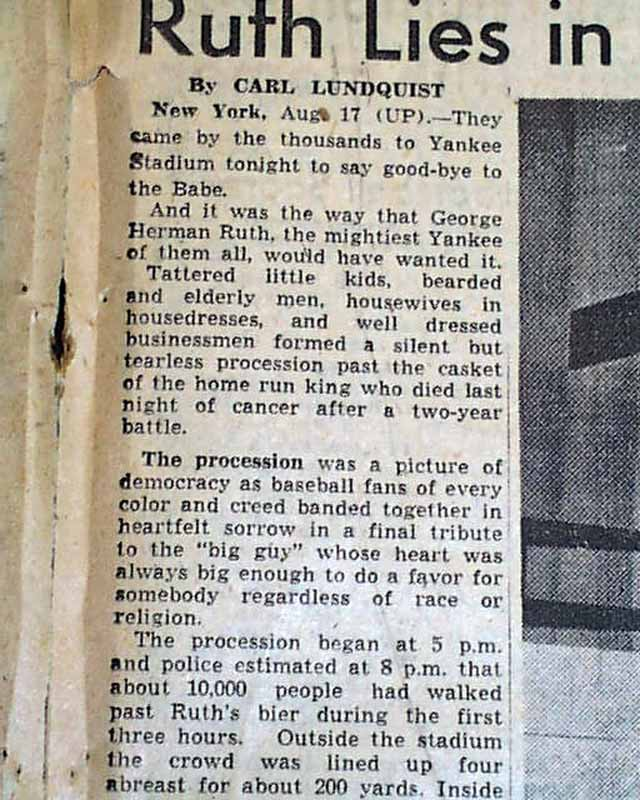 Babe Ruth Death Newspaper Death of babe ruth...1948. Babe Ruth Yankees