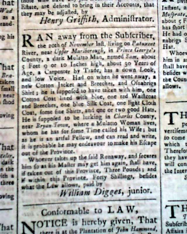 French and Indian War Newspaper