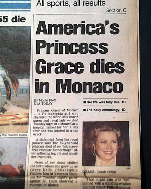 Image result for the death of monaco's princess grace   dies