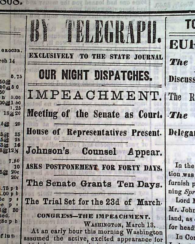 Andrew Johnson Impeachment Trial 1868....