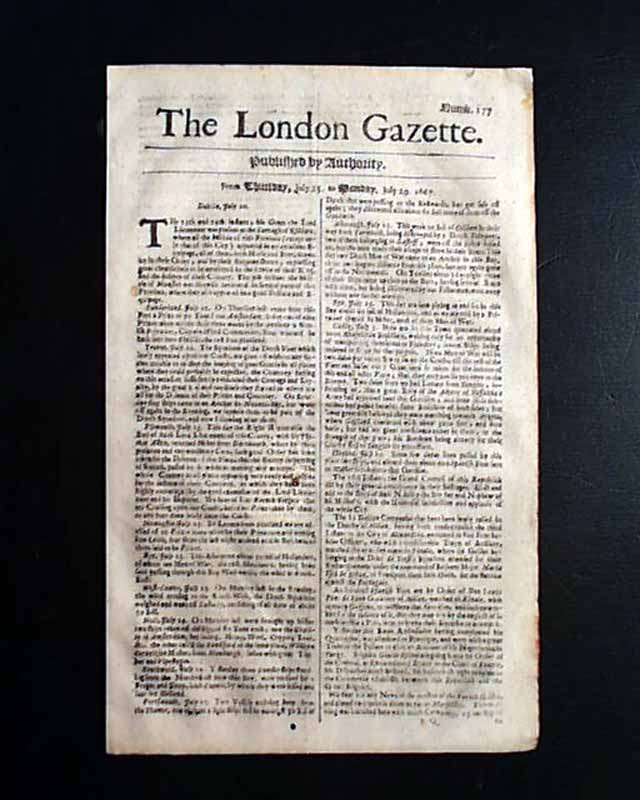 1667 Newspaper EARLY Rare 17th Century 350 Years Old LONDON GAZETTE England RARE