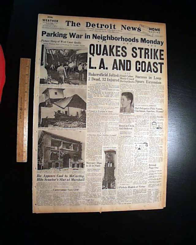 recent earthquakes in california. California-Earthquake-1952