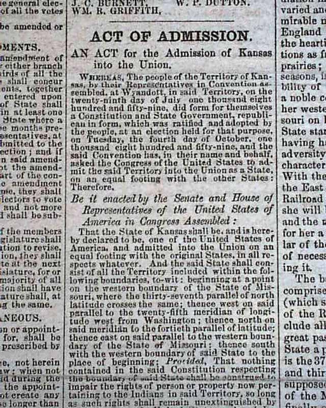 Kansas joins the Union: in a Kansas newspaper ...