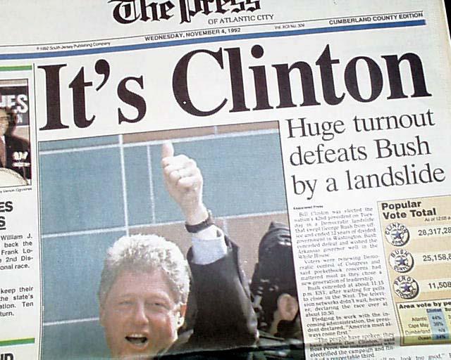 President Bill Clinton wins 1st election ...