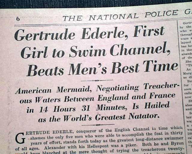 gertrude ederle 39 s swim across the english channel