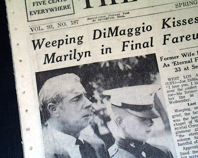 MARILYN MONROE DEATH Joe DiMaggio Funeral1962 Newspaper | eBay