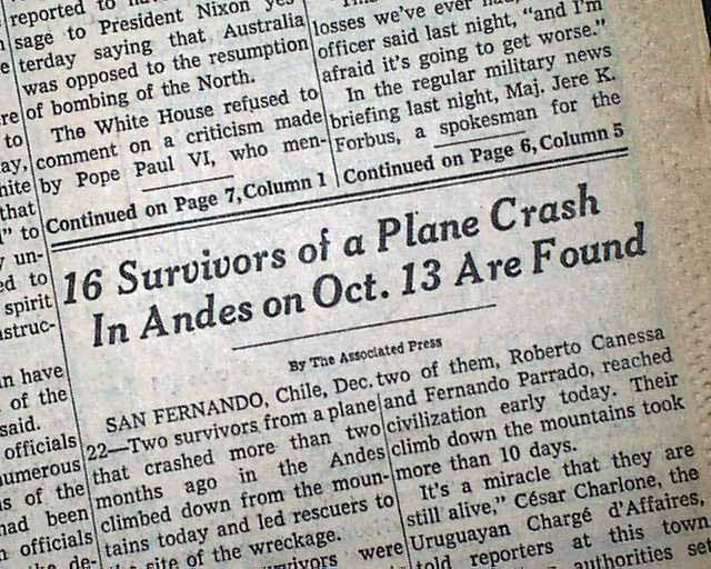1972 andes airplane vehicle crash paper articles