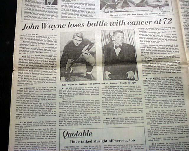 Death Of Actor John Wayne Rarenewspapers Com
