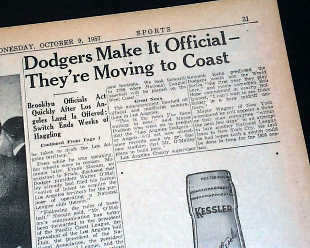 the dodgers move west A political battle over the dodgers' move also erupted in los angeles mayor poulson's suggestion to use chavez ravine as the new stadium site triggered opposition from residents concerned about a giveaway eventually a telethon campaign that enlisted the help of celebrities such as groucho marx, george burns, and.