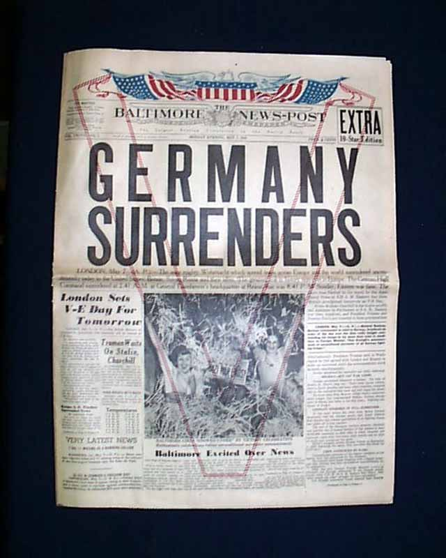 Germany Surrenders Rarenewspapers Com