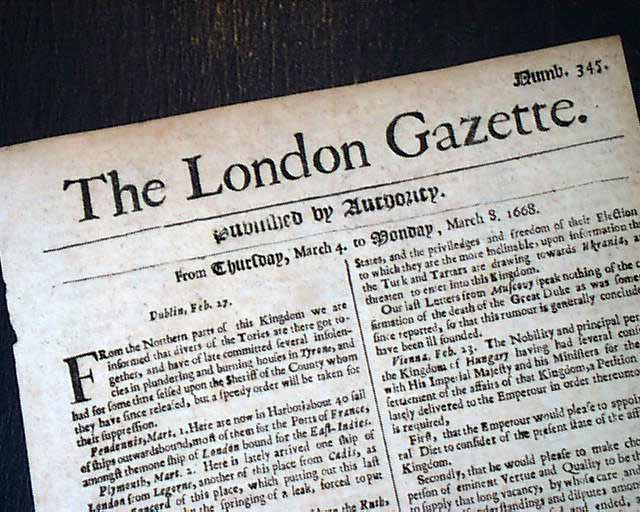 1668 Newspaper EARLY Rare 17th Century 349 Years Old LONDON GAZETTE England RARE