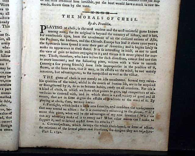 ben franklin essay on chess This free history essay on essay: benjamin franklin is perfect for history students to use as an example franklin was a decent chess player.