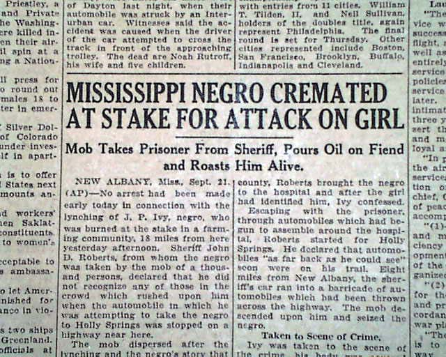 new albany ms mississippi negro lynching burning at the
