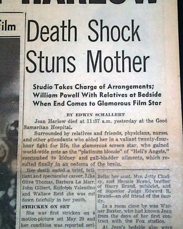 Death Of Jean Harlow Rarenewspapers Com