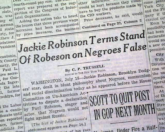 The paul robeson jackie robinson