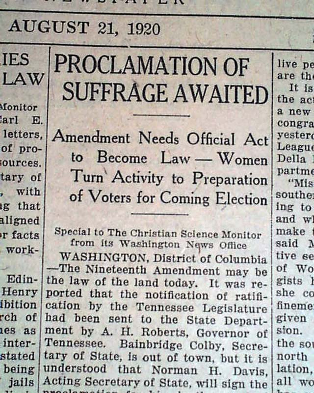 WOMENS SUFFRAGE 19th Amendment - 136.5KB