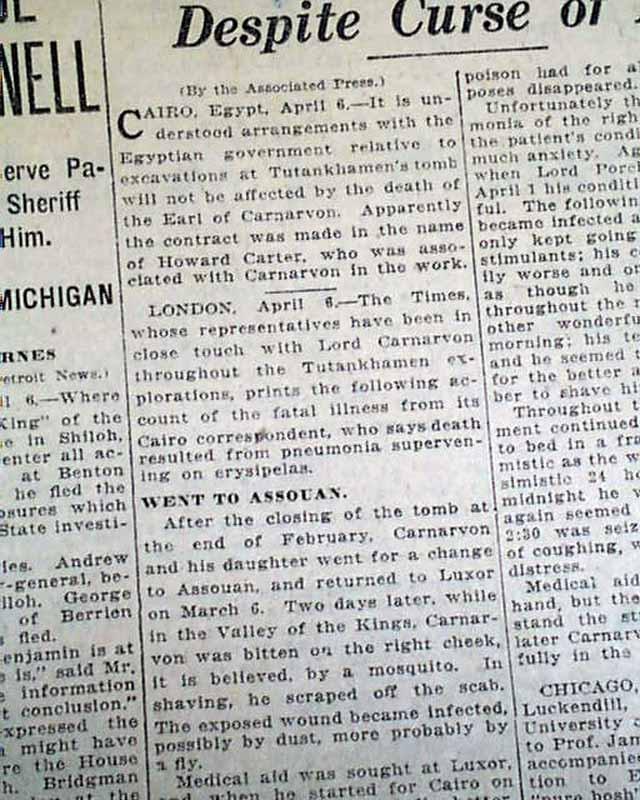 Curse of King Tut kills Lord Carnarvon?... - RareNewspapers.com