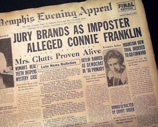 1929 CONNIE FRANKLIN MURDER Mountain View AR Newspaper