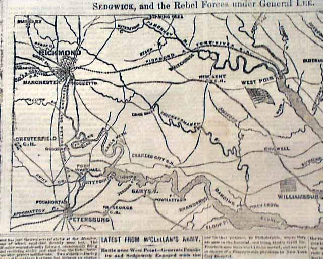 Civil War Map Shows From Richmond To Yorktown