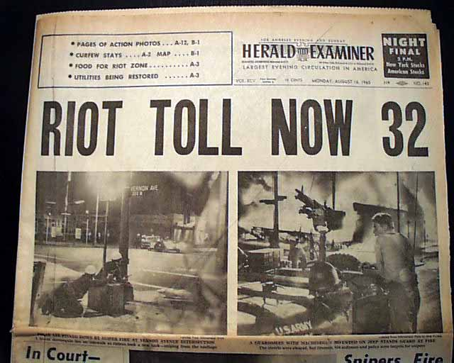 the watts riots essay Math of the 1965 watts riots or even the widespread rioting following the  by  political scientist regina freer's essay on competition and conflict between.