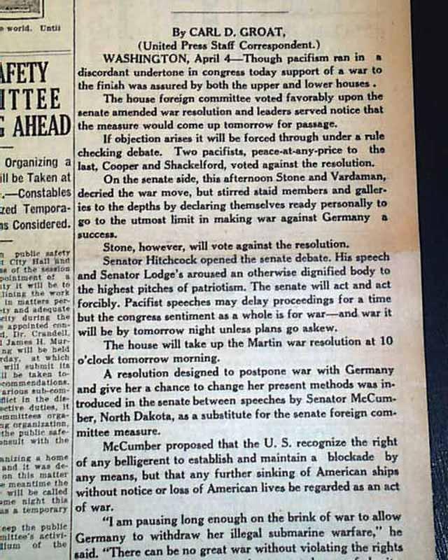 U.S. enters WWI... - RareNewspapers.com