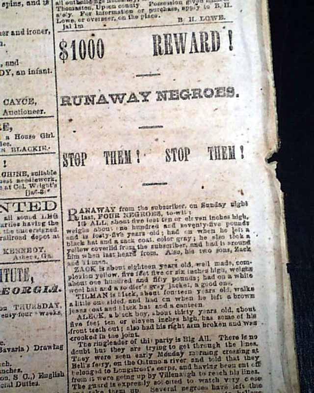 "Rare issue of this Confederate ""Memphis"" newspaper printed ..."
