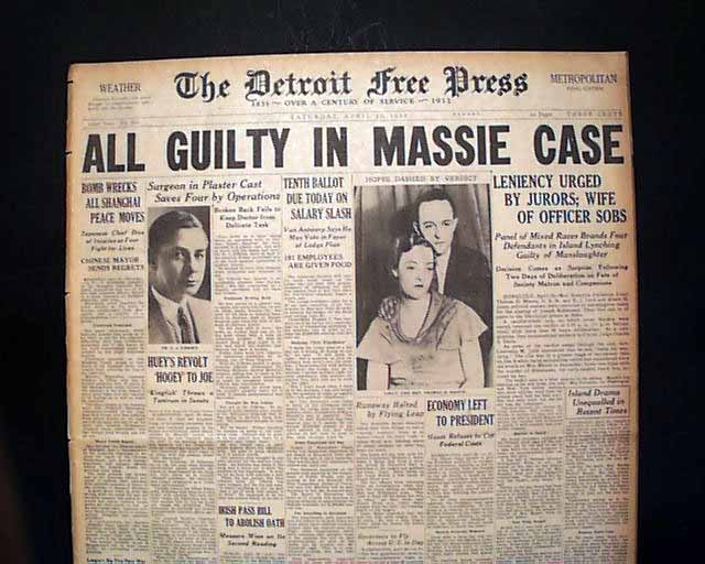 massie case The massie trial for what was known as the massie affair, was a 1932 criminal trial that took place in honolulu, hawaii grace hubbard fortescue, along with several accomplices, was charged with murder in the death of well known local prizefighter joseph kahahawai fortescue was the mother of thalia massie, who had.