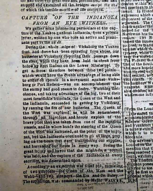 Richmond VA Civil War Newspaper USS Indianola Ironclad Captured