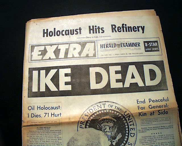 Image result for dwight david eisenhower death newspaper articles