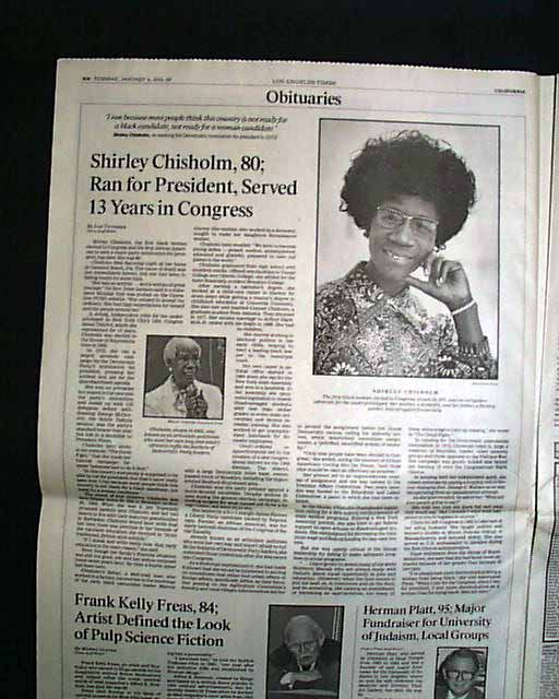 shirley chisholm paper Shirley anita chisholm (née st hill november 30, 1924 – january 1, 2005) was an american politician, educator, and author in 1968, she became the .