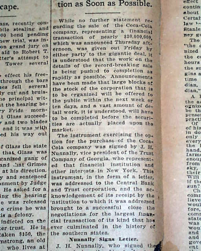 historic the coca cola company publicy traded 1919 atlanta