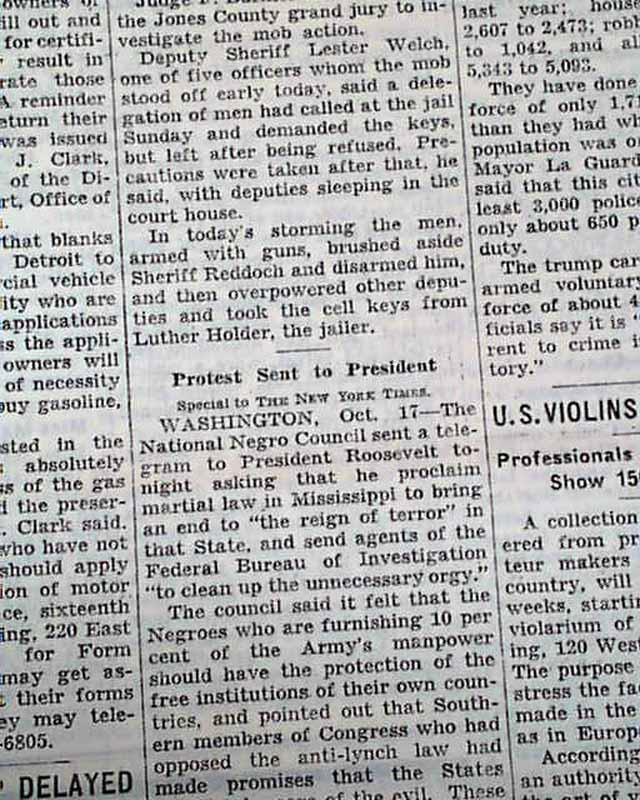 laurel ms mississippi negro lynching howard wash 1942