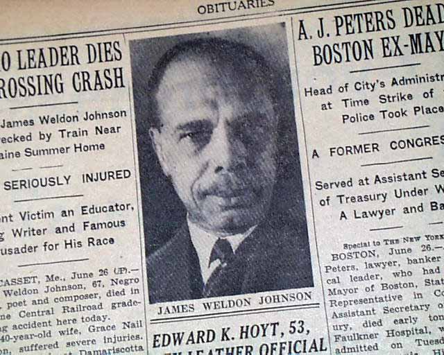 James Weldon Johnson death poem