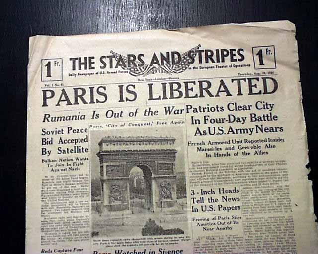 france newspaper proclaiming the liberation of paris. Black Bedroom Furniture Sets. Home Design Ideas