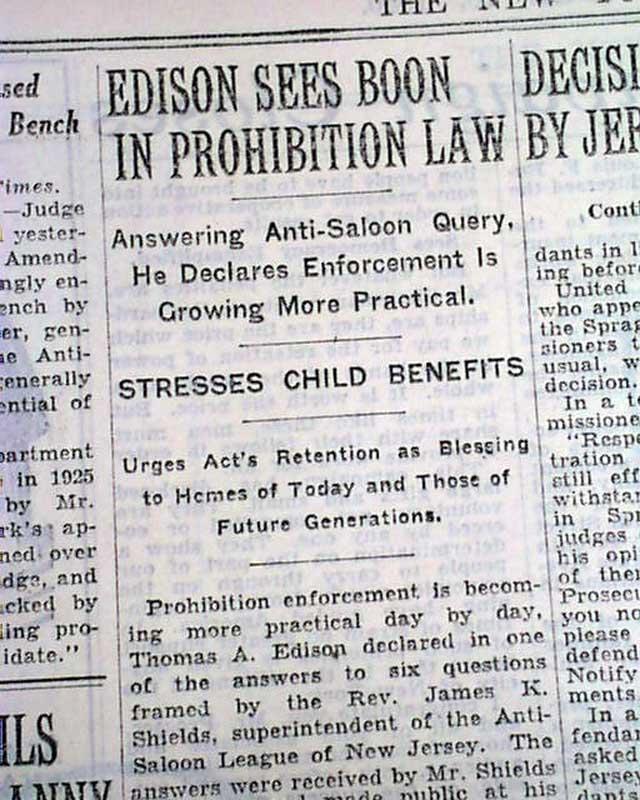 thomas edison article new york times