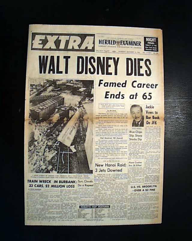 Death of Walt Disney, in a Los Angeles newspaper ...