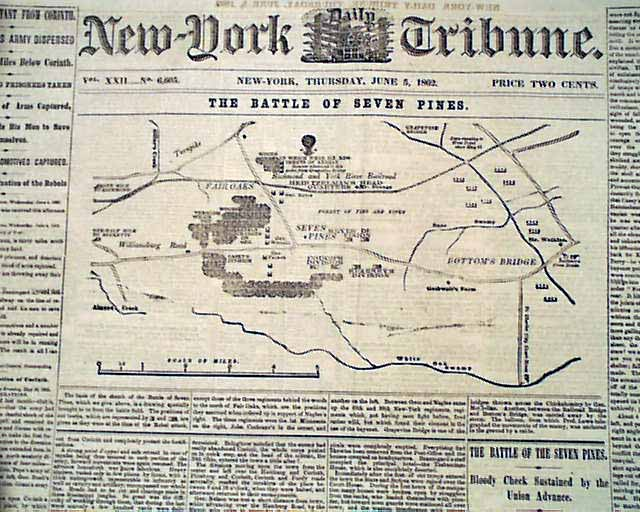 Civil War Map Of The Battle Of Seven Pines
