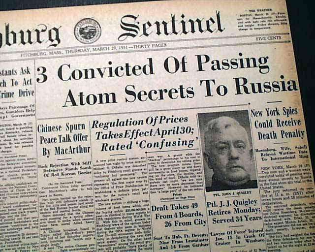 Image result for what were the rosenbergs found guilty of 1951