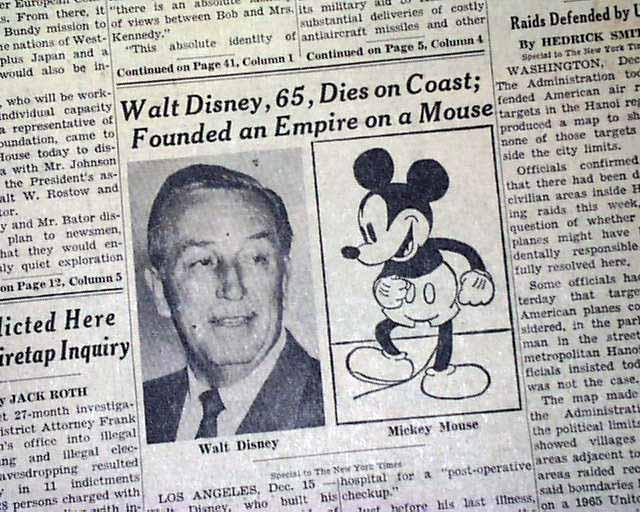 WALT DISNEY Business Magnate Mickey Mouse & Disneyland Fame DEATH ...
