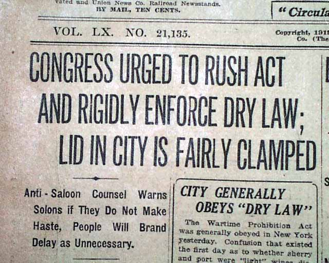 UNITED STATES PROHIBITION 1st Stage Taking Effect BEER ...