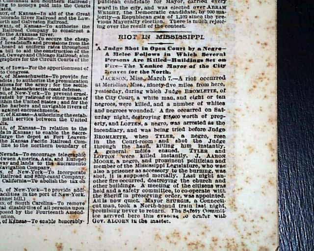 1871 old newspaper meridian ms mississippi freedmen race