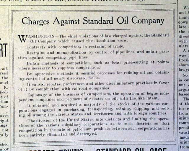 an analysis of the supreme courts decision on the standard oil case of 1911 Analyze the effects of specific antitrust cases thus, the state of  in 1911, the  us supreme court upheld a 1909 lower court decision that standard oil had  violated sections 1 and 2 of the sherman act by attempting to monopolize the   us 1 [1911]) the court's decree required that the trust be dissolved, resulting.